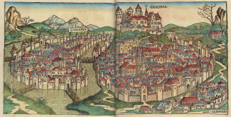 Cracovia (Cracow) in a 1493 woodcut from Hartmann Schedel's 'Nuremberg Chronicle'; view facing west, with Casmirus (Kazimierz) on the left